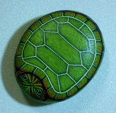 Snapping Turtle green garden decor pondside paperweight christmas gift under 40 USD hand painted rocks by Rockartiste. $30.00, via Etsy.