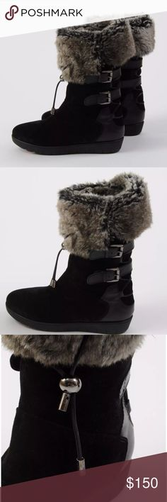 Aquatalia Weslyn Faux Fur Lined Winter Boots Brand new without box!! Retail $575 Paid $269 Weslyn Boots  Cold weather winter boots Mid Calf Waterproof Rubbed Suede and Leather Upper Faux Fur Cuff Adjustable Buckle Strap Details Back lacing detail w front adjustable toggle button Pull On Round Toe Made in Italy   Size 6  Heel 1 Inch Boot 11.5 Inches Tall Aquatalia Shoes Ankle Boots & Booties
