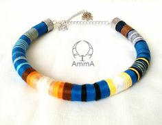 Obayama Ethnic Necklace Thread wrapped Necklace Rope by DesignAmmA