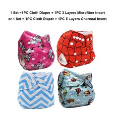 AIO Reusable Washable Cloth Diaper Nappy Charcoal Bamboo Insert Overnight A2