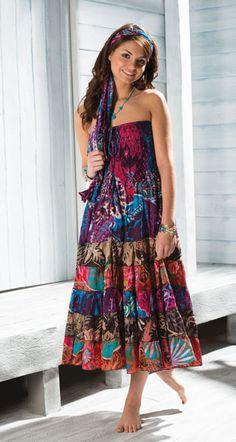 30e95f85350 Hippy Dress Bohemian Strapless Dress Flower Print Dress Skirt Fair trade by Folio  Gothic Hippy SK293