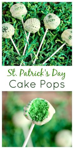 These St. Patrick's Day inspired Green Cake Pops make the perfect green treat for all your holiday celebrations! Green cake is covered with a thin coating of white chocolate and decorated with fun shamrock designs! They can be made with gluten free cake mix if necessary and you can use any boxed cake mix OR a homemade one!