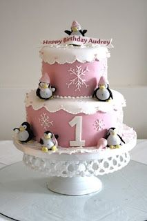 Love the penguin theme for a January birthday.  Possible cake idea for Luke, only in blue and without the lace.