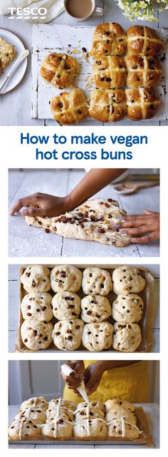 How to make vegan hot cross buns It wouldn't be Easter without hot cross buns and this vegan recipe means nobody has to miss out. Serve warm from the oven or toast until golden and crisp for the ultimate Easter breakfast. Vegan Recipes Easy, Dairy Free Recipes, Baking Recipes, Cheap Vegan Meals, Vegan Foods, Vegan Snacks, Nachos, Vegan Hot Cross Buns, Food Porn