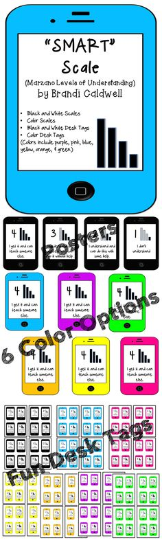 LOVE these! Scales in your classroom are a great way to impact student learning. Posters and desk tags in lots if fun neon colors. $