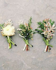 The Boutonnieres- John pinned a cluster of cedar, rosemary, and ranunculus to his lapel. His crew wore sprigs of juniper in lieu of flowers.