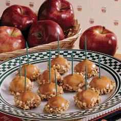 Genius! caramel apple BITES...so much easier than a whole apple. Cute for a party