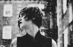 """""""Just like any woman...we weave our stories out of our bodies.  Some of us through our children, or our art; some do it just by living. It's all the same.""""  - Francesca Lia Block  Asher + Oak /// artistic moody emotional portrait photography /// black and white /// falling snow"""