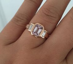 Emerald Cut Fancy Pink Sapphire and Diamond Baguette Bezel Ring in Rose Gold Diamond Ring, Diamond Wedding Bands, Pink Sapphire Ring, Engagement Ring Cuts, Rose Gold Engagement Ring, Solitaire Engagement, Bezel Ring, Beautiful Rings, Jewelry