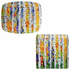Foot Stools Poufs Chairs Round or Square from DiaNoche Designs by Karen Tarlton – Birch Trees