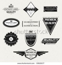 Collection of Premium Quality and Guarantee Labels and frames with retro vintage styled design
