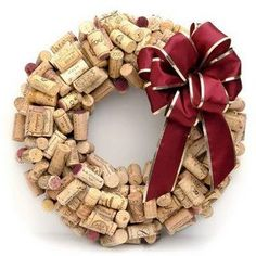 Wine Cork Wreath DIY made from the wedding's wine corks