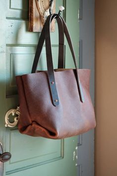 4131a959d Brown Leather Tote Bag \ Women's leather Brown tote \ medium floppy women's  purse \ leather diaper bag \ leather messenger bag \ slouchy. Bolsa Couro  ...