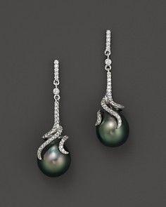 Tara Pearls Tahitian Cultured Pearl Drop Earrings with Diamonds in 14K White Gold