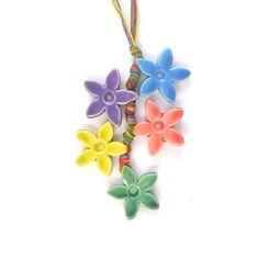 flowers necklace, hippie necklace, pendant, happy, raimbow necklace, Jewelry - Necklace - Pendant - Ceramic Jewelry - Personalized Jewelry - Birthday Gift