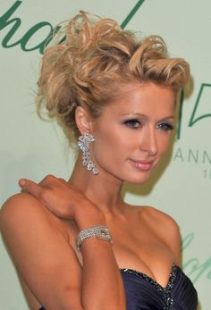 romantic updos For Medium Hair | Picture of Paris Hilton Romantic Messy Curly Updo for Wedding /Getty ...