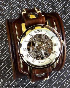 Leather Cuff Watch Cuff Men's watch Leather by CuckooNestArtStudio, $139.00