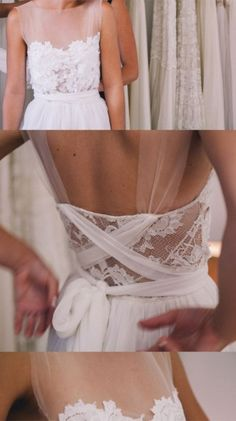 The soft and subtle way this dress criss-crosses in the back. By Loren White