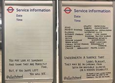 50 Thought-Provoking Messages On The London Underground Service Information Boards Written By 2 Masked Guys Positive Affirmations Quotes, Affirmation Quotes, Uplifting Messages, Inspiring Messages, Information Board, Fatigue Syndrome, Ulcerative Colitis, London Underground, Writing Poetry