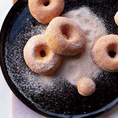 Sweet Potato Doughnuts-  Baking the doughnuts and tossing them with a little butter, cinnamon and sugar makes them healthier than fried doughnuts. The sweet potato in the dough adds a lovely, earthy flavor. Instead of slowly baking the potato in the oven, microwave it for just 10 minutes.