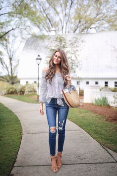 Southern Curls & Pearls: Stripes & a Straw Tote