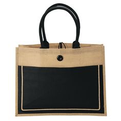 "Large two-tone design tote made from sustainable jute fabric features a wide 5 1/2"" gusset, large 10 oz. cotton canvas front pocket with hook & loop closure, 20"" handles, and a button and loop closure. Multiple color imprints require full color transfer."