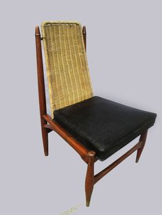 Superieur Frank Kyle; Wood, Leather And Liana Sidechair, 1950s.