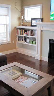 I Married a Tree Hugger: Casual, Comfy, Craftsman Living Room Fireplace Beam, Craftsman Fireplace, Fireplace Bookshelves, Fireplace Built Ins, Bedroom Fireplace, Fireplaces, Bookcases, Craftsman Living Rooms, Craftsman Style Homes