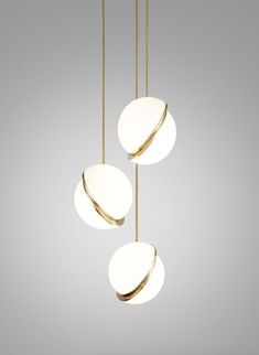 Trio of pendant lights MiniCrescent Design LeeBroom CrescentLight Brass Bedroom Lighting, Interior Lighting, Home Lighting, Modern Lighting, Lighting Design, Bedroom Chandeliers, Office Lighting, Kitchen Lighting, Bathroom Ceiling Light