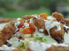 Fried Chicken Salad with Buttermilk-Chive Dressing from Guy Fieri- Bake the chicken for a low fat option