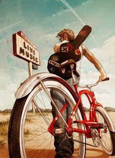 Rory kurtz illustration art, bike art и bicycle art. Art And Illustration, Illustrations And Posters, Bicycle Illustration, Character Illustration, Tattoo Illustrations, Fixi Bike, Bicycle Art, Bike Rides, Bicycle Design