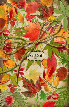 AUTUMN LEAVES - Print Your Own WRAPPING Paper Digital Collage Sheet Printable Download Images for Gifts Scrapbooking Paper Goods supply