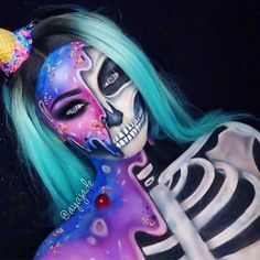@evatornado comic skeleton makeup for halloween