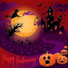 Pumpkin Faces and Witch Photo Backgrounds Cartoon Painting Photography Backdrops for Halloween Halloween Images Free, Photo Halloween, Halloween Pictures, Halloween Night, Scary Halloween, Halloween Themes, Halloween Pumpkins, Happy Halloween, Halloween