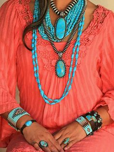 Oh wow - so gorgeous! Coral and Turquoise colors always compliment each other  Boho Style, Boho Jewelry