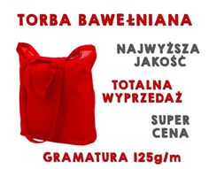 Czerwona torba bawełniana z podwójnym uchwytem HIT
