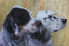 """'English Setters' oil on canvas 30"""" X 40"""" by Wildbank. Collection of Willson Family"""