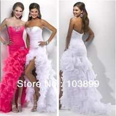 Euro Type Strapless Crystals Featured Organza White Front Slit Prom Gowns 2013 Fall