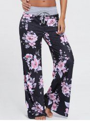 Floral High Waist Wide Leg Pants - BLACK