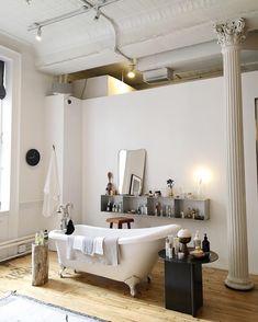 The Line Apartment, Clawfoot Tubs, Interior And Exterior, Interior Design, Bathroom Inspiration, Decoration, Double Vanity, Affair, Minimalist