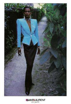 Amalia Vairelli pour Yves Saint Laurent, 1985.