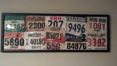 Better way to display all those race bibs...just chose my favorite race bibs and bought a frame from Target.  Ta-da!