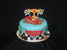 Cars themed cake - the Lightening McQueen car is the only thing not edible.