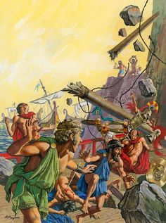 Roger Payne - The Gigantic Laestrygonians Bombard the Ships of Odysseus. Tags: odyssey, odysseus, laestrygonians,