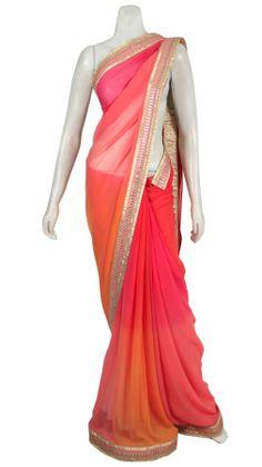 Pink Orange Saree | Strandofsilk.com - Indian Designers