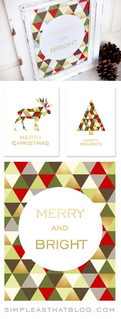 Merry and Bright Framed Art Prints for free download at simleasthatblog.com. Beautiful home and party decor for the holidays with a modern flair!