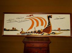 Vintage Retro 60s Large Viking Ship Painting by PurelyVintageShop, $170.00