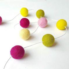 Round and round it goes..  Link in bio #feltballgarland #garland #woolballgarland #bunting #nurserygarland #babynursery #babyshower #bridalshower #weddinginspiration #feltwoolballs #balls #color #fuchsia #moss #yellow #pink #babygirl #handmade #lukh #summerday #craftsposure #craftspire #handmadeisbetter #makersgonnamake #wearecraftcount #etsyfindsoftheday #mellsva #feltflorist