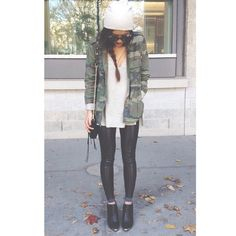 Camo with leather leggings