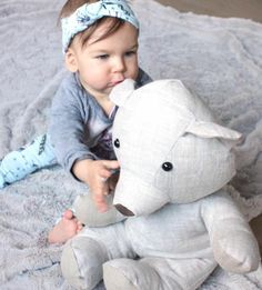 Linen handmade bear toy & baby headwear by Baby.MORE